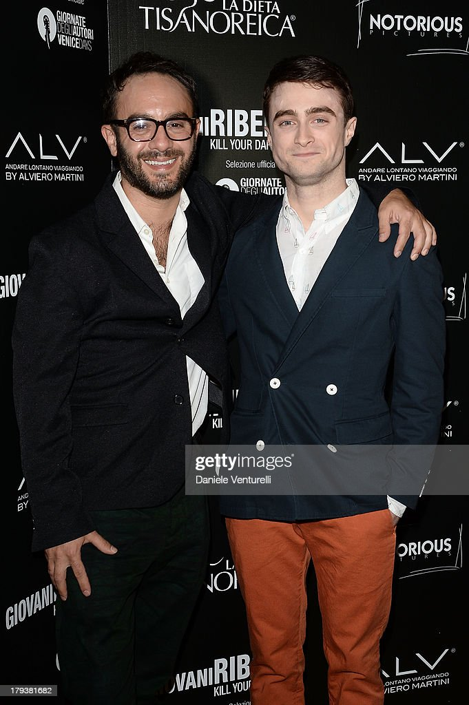 Director John Krokidas and actor <a gi-track='captionPersonalityLinkClicked' href=/galleries/search?phrase=Daniel+Radcliffe&family=editorial&specificpeople=204144 ng-click='$event.stopPropagation()'>Daniel Radcliffe</a> attends the 'Kill Your Darlings' Party during the 70th Venice International Film Festival at the Centurion Palace Hotel on September 2, 2013 in Venice, Italy.