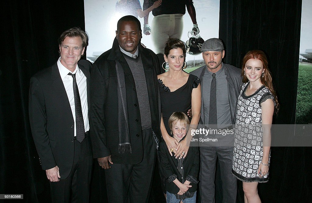 Director John Lee Hancock, actor Quinton Aaron, actress Sandra Bullock, actor Jae Head, actor/musician Tim McGraw and actress Lily Collins attend 'The Blind Side' premiere at the Ziegfeld Theatre on November 17, 2009 in New York City.