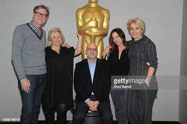 Director John Lee Hancock Alison Owen Joe Neumaier Kelly Marcel and Emma Thompson attend The Academy Of Motion Picture Arts And Sciences Hosts An...