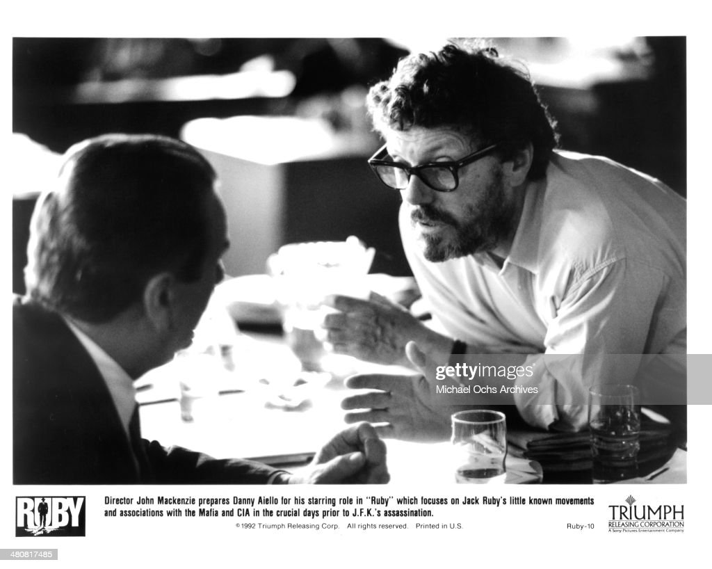 Director John Mackenzie talk to actor Danny Aiello on the set of the Triumph movie 'Ruby' circa 1992
