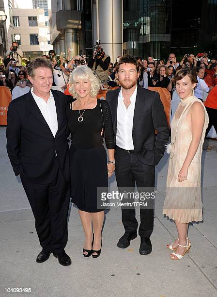 Director John Madden Dame Helen Mirren actor Sam Worthington and actress Romi Aboulafia attend 'The Debt' Premiere during the 35th Toronto...