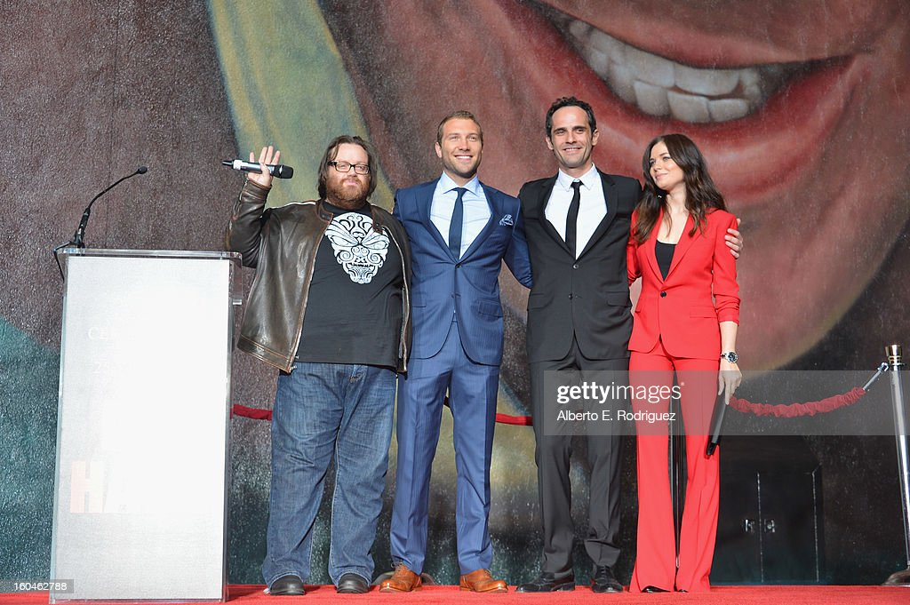 Director John Moore, actors Jai Courntey, Rasha Bukvic and Julia Snigir attend the dedication and unveiling of a new soundstage mural celebrating 25 years of 'Die Hard' at Fox Studio Lot on January 31, 2013 in Century City, California.