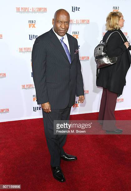 Director John Singleton attends the premiere of FX's 'American Crime Story The People V OJ Simpson' at Westwood Village Theatre on January 27 2016 in...