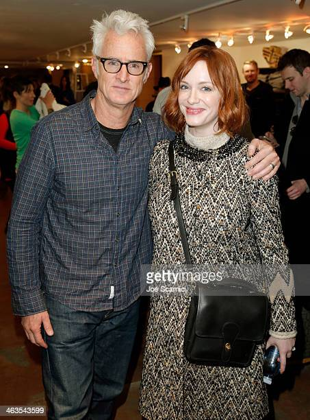 Director John Slattery and actress Christina Hendricks attend the The Variety Studio Sundance Edition Presented By Dawn Levy on January 18 2014 in...