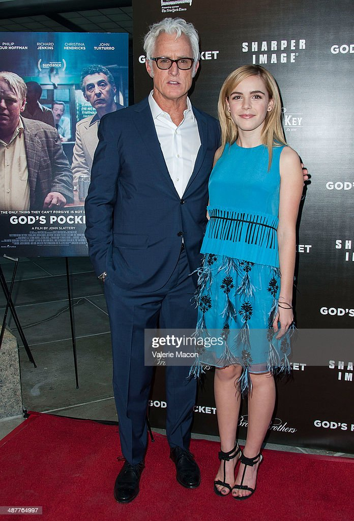 Director John Slattery (L) and Kiernan Shipka arrive at the Premiere Of IFC Films' 'God's Pocket' at LACMA on May 1, 2014 in Los Angeles, California.
