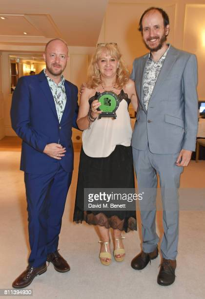Director John Tiffany producer Sonia Friedman and writer Jack Thorne winners of the Theatre award for 'Harry Potter And The Cursed Child' pose in the...