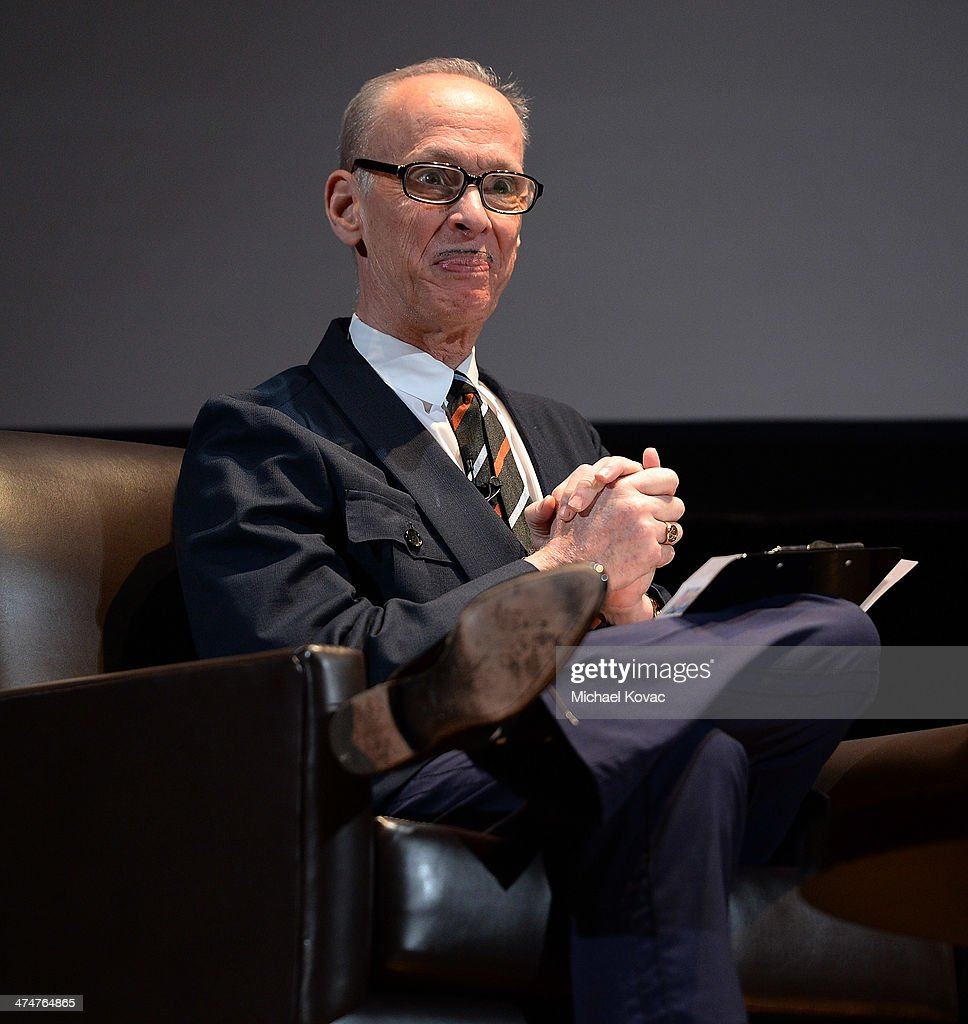 Director John Waters presents onstage at The Un-Private Collection: Jeff Koons and John Waters in Conversation at Orpheum Theatre on February 24, 2014 in Los Angeles, California.