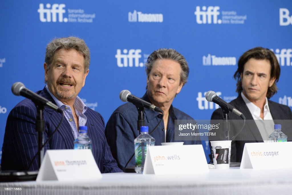 Director John Wells, actor Chris Cooper and actor <a gi-track='captionPersonalityLinkClicked' href=/galleries/search?phrase=Dermot+Mulroney&family=editorial&specificpeople=208776 ng-click='$event.stopPropagation()'>Dermot Mulroney</a> speak onstage at 'August: Osage County' Press Conference during the 2013 Toronto International Film Festival at TIFF Bell Lightbox on September 10, 2013 in Toronto, Canada.