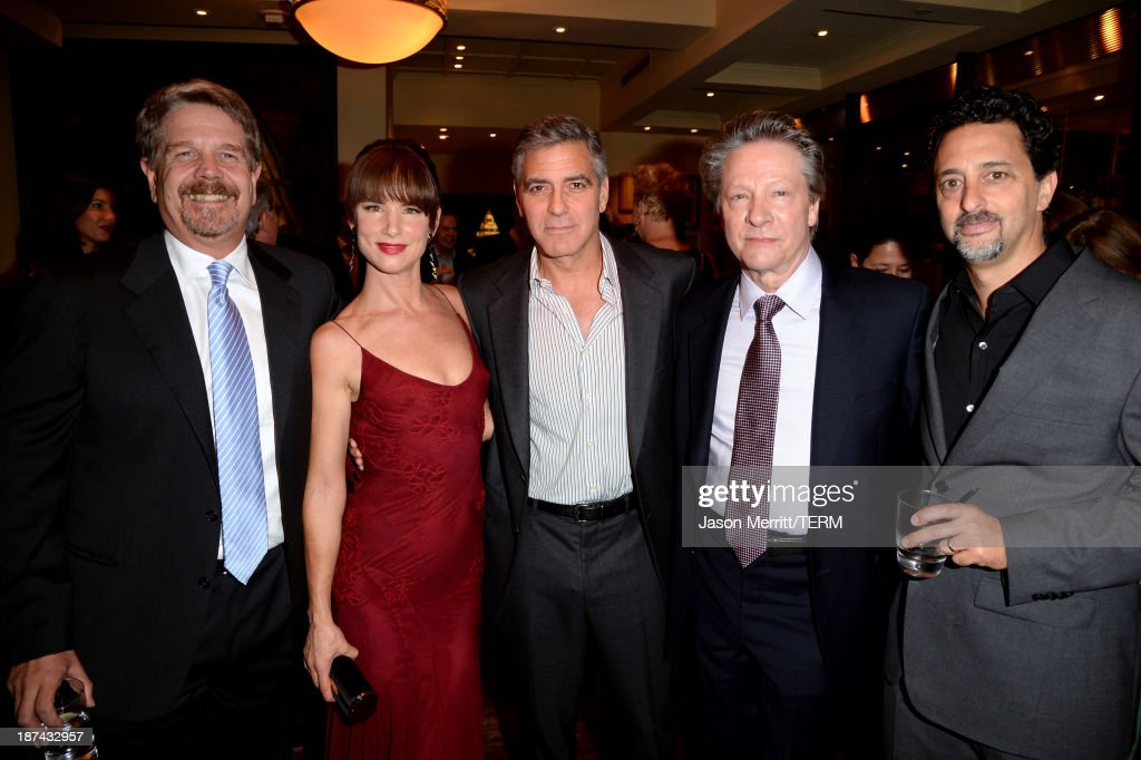 Director John Wells actress Juliette Lewis producer George Clooney actor Chris Cooper and producer Grant Heslov attend The Weinstein Company Presents...