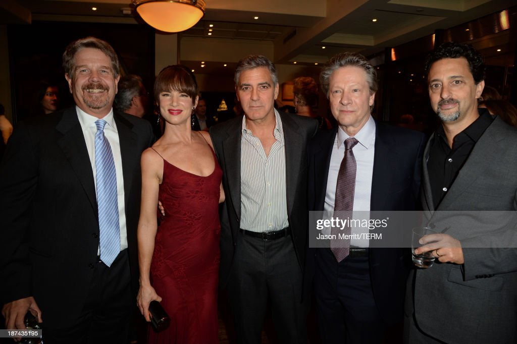 Director John Wells, actress Juliette Lewis, producer George Clooney, actor Chris Cooper, and producer Grant Heslov attend The Weinstein Company Presents 'August: Osage County' Gala Screening Cocktail Reception during AFI FEST 2013 presented by Audi at TCL Chinese Theatre on November 8, 2013 in Hollywood, California.