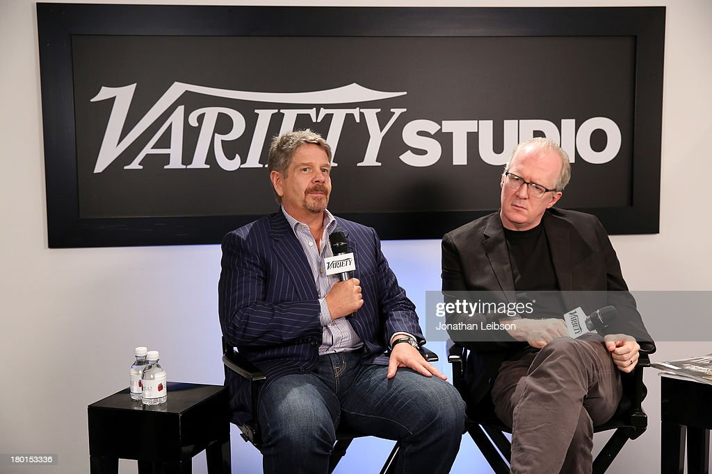 Director John Wells (L) and screenwriter <a gi-track='captionPersonalityLinkClicked' href=/galleries/search?phrase=Tracy+Letts&family=editorial&specificpeople=4694707 ng-click='$event.stopPropagation()'>Tracy Letts</a> speak at Variety Studio presented by Moroccanoil at Holt Renfrew during the 2013 Toronto International Film Festival on September 9, 2013 in Toronto, Canada.