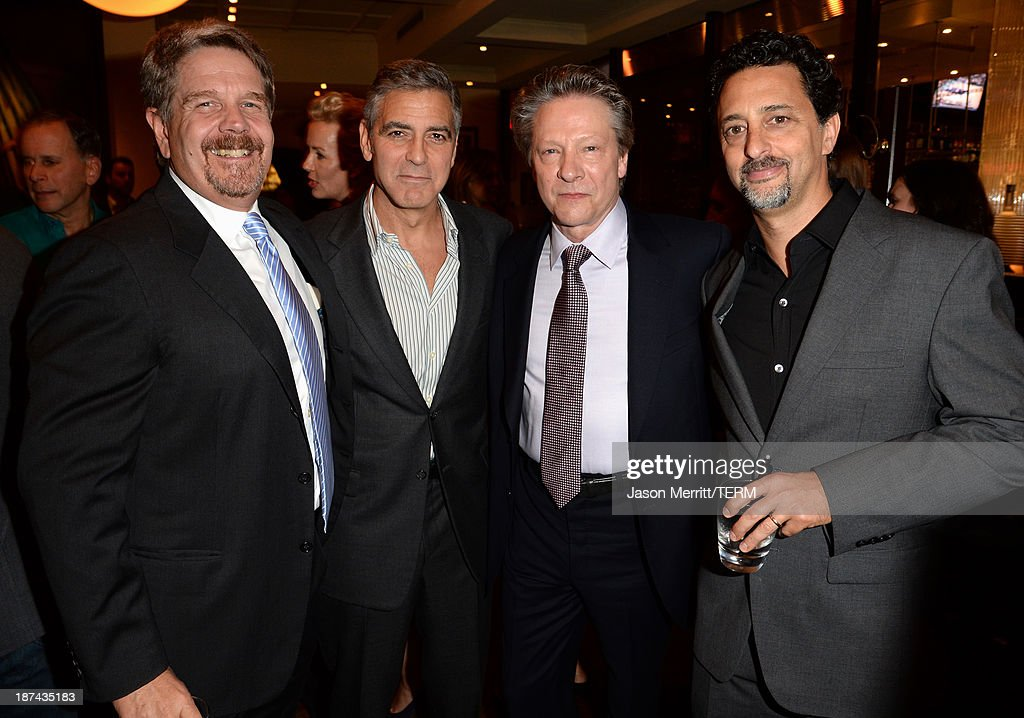 Director John Wells, producer <a gi-track='captionPersonalityLinkClicked' href=/galleries/search?phrase=George+Clooney&family=editorial&specificpeople=202529 ng-click='$event.stopPropagation()'>George Clooney</a>, actor Chris Cooper, and producer Grant Heslov attend The Weinstein Company Presents 'August: Osage County' Gala Screening Cocktail Reception during AFI FEST 2013 presented by Audi at TCL Chinese Theatre on November 8, 2013 in Hollywood, California.