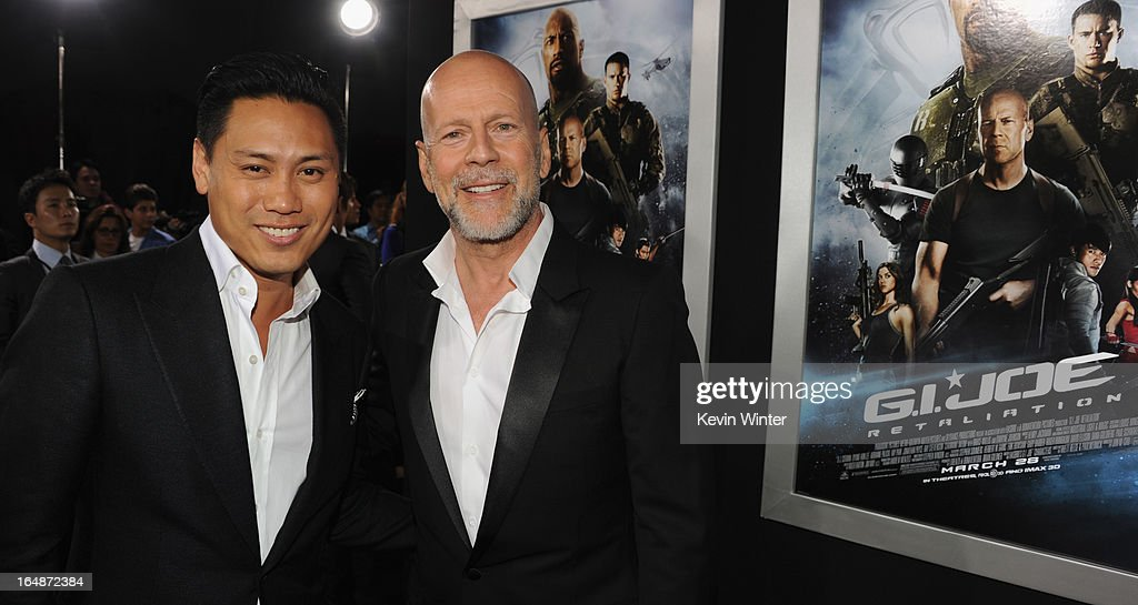 Director Jon M. Chu and actor <a gi-track='captionPersonalityLinkClicked' href=/galleries/search?phrase=Bruce+Willis&family=editorial&specificpeople=202185 ng-click='$event.stopPropagation()'>Bruce Willis</a> attend the premiere of Paramount Pictures' 'G.I. Joe:Retaliation' at TCL Chinese Theatre on March 28, 2013 in Hollywood, California.