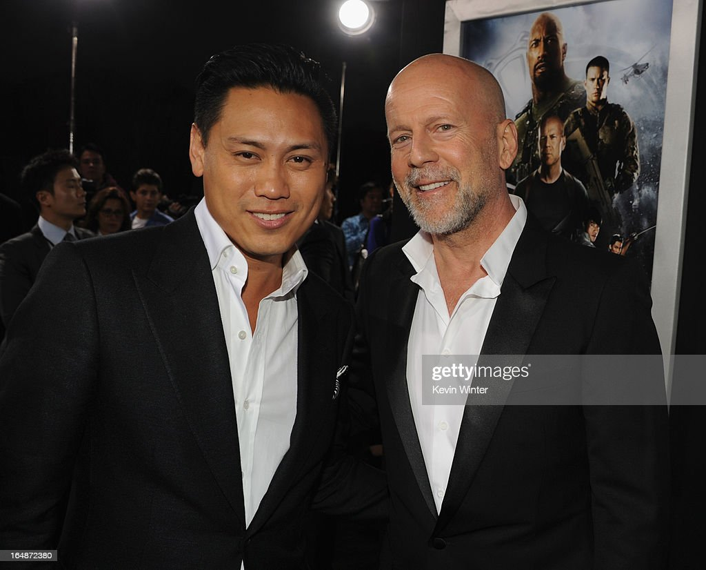 Director Jon M. Chu and actor Brucec Willis attend the premiere of Paramount Pictures' 'G.I. Joe:Retaliation' at TCL Chinese Theatre on March 28, 2013 in Hollywood, California.