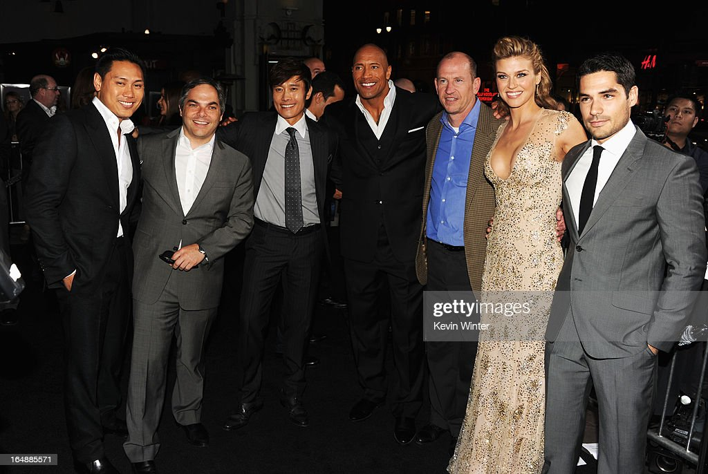 Director Jon M. Chu, President/ Paramount Film Group Adam Goodman, Actors Byung-Hun Lee, Dwayne Johnson, Vice Chairman of Paramount Pictures Corporation Rob Moore, actress Adrianne Palicki and actor D.J. Cotrona attend the premiere of Paramount Pictures' 'G.I. Joe:Retaliation' at TCL Chinese Theatre on March 28, 2013 in Hollywood, California.