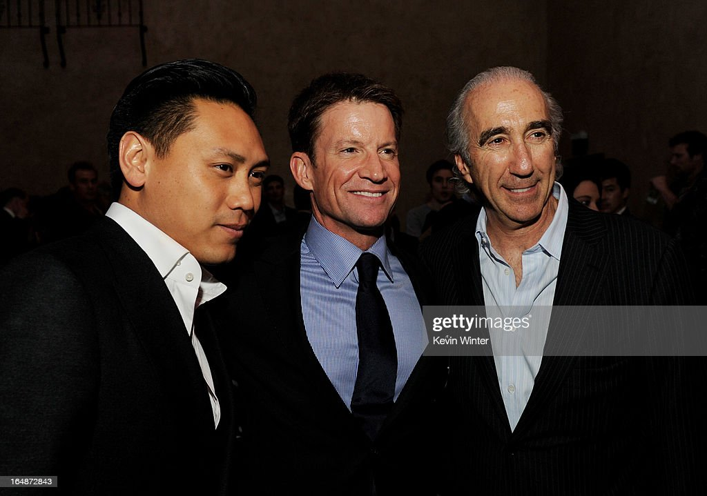 Director Jon M. Chu, producer Brian Goldner and Chairman and CEO of MGM <a gi-track='captionPersonalityLinkClicked' href=/galleries/search?phrase=Gary+Barber&family=editorial&specificpeople=683141 ng-click='$event.stopPropagation()'>Gary Barber</a> pose at the after party for the premiere of Paramount Pictures' 'G.I. Joe: Retaliation' at the Roosevelt Hotel on March 28, 2013 in Los Angeles, California.