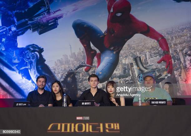 Director Jon Watts Actor Tom Holland and Actor Jacob Batalon attend a press conference to promote new movie 'SpiderMan Homecoming' at Corad Seoul...