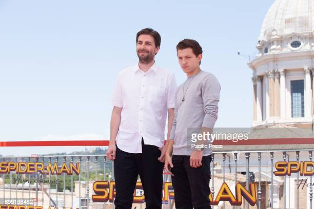 Director Jon Watts and actor Tom Holland Photocall of the movie 'SpiderMan Homecoming'