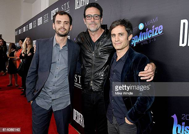 Director Jonas Cuaron actors Jeffrey Dean Morgan and Gael Garcia Bernal attend the screening of STX Entertainment's 'Desierto' at Regal LA Live...