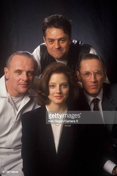 Director Jonathan Demme actors Anthony Hopkins Jodie Foster and Scott Glenn are photographed on the set of 'The Silence of the Lambs' in 1989 around...