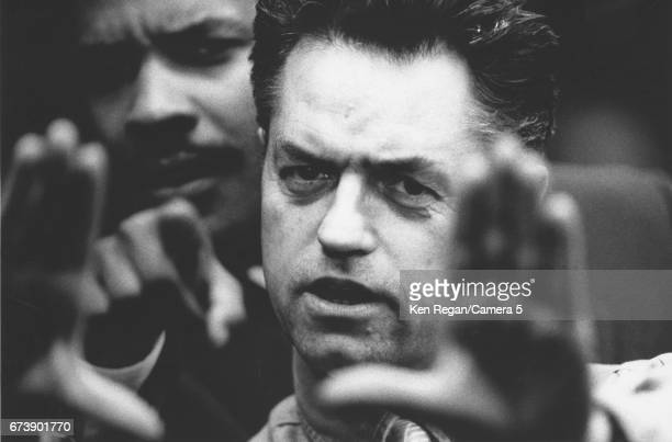Director Jonathan Demme and actor Denzel Washington photographed on the set of 'Philadelphia' in 1992 in Philadelphia Pennsylvania CREDIT MUST READ...
