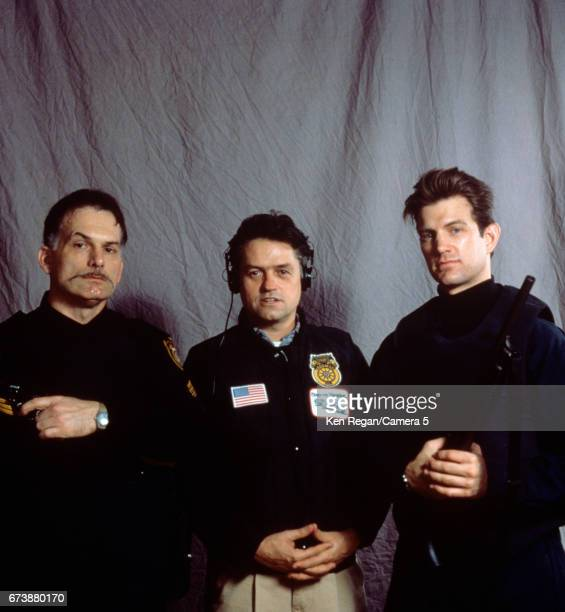 Director Jonathan Demme and actors Danny Darst and Chris Isaak are photographed on the set of 'The Silence of the Lambs' in 1989 around Pittsburgh...