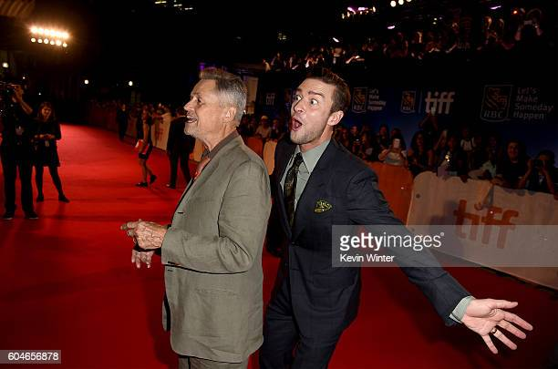 Director Jonathan Demme and actor/singer Justin Timberlake attend the 'Justin Timberlake The Tennessee Kids' premiere during the 2016 Toronto...
