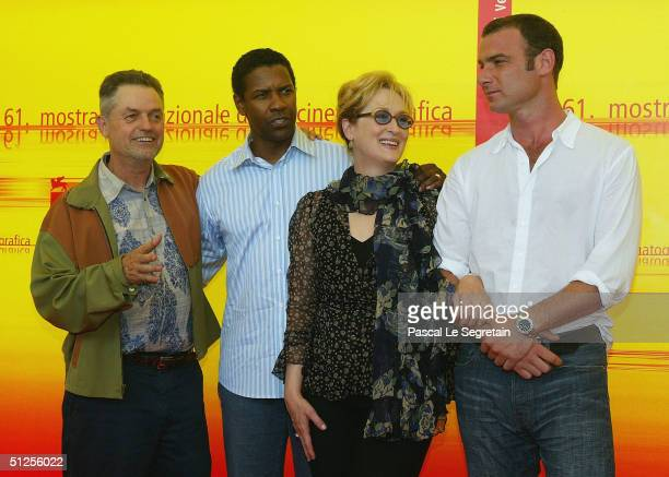 Director Jonathan Demme with actors Denzel Washington Meryl Streep and Liev Schreiber attend the 'The Manchurian Candidate' Photocall at the 61st...