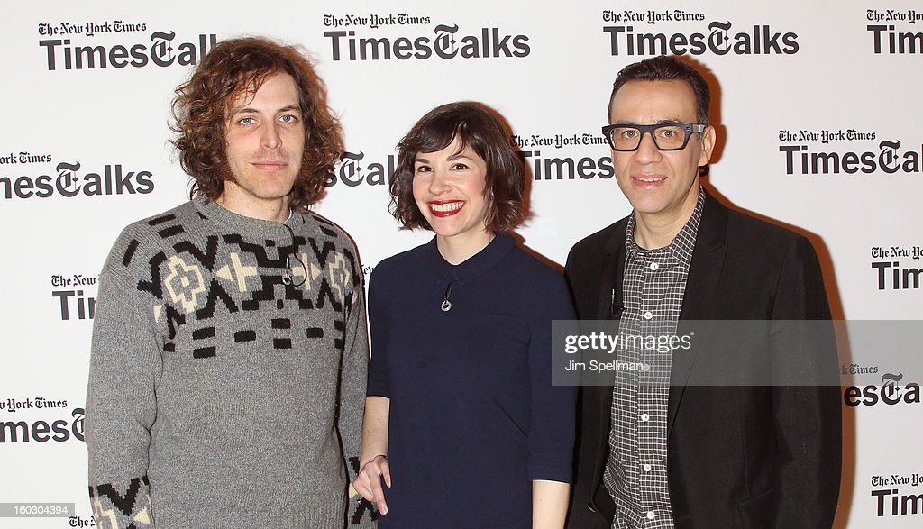 Director Jonathan Krisel, actors <a gi-track='captionPersonalityLinkClicked' href=/galleries/search?phrase=Carrie+Brownstein&family=editorial&specificpeople=870017 ng-click='$event.stopPropagation()'>Carrie Brownstein</a> and <a gi-track='captionPersonalityLinkClicked' href=/galleries/search?phrase=Fred+Armisen&family=editorial&specificpeople=221426 ng-click='$event.stopPropagation()'>Fred Armisen</a> attend New York Times TimesTalks Presents: 'Portlandia' at TheTimesCenter on January 28, 2013 in New York City.