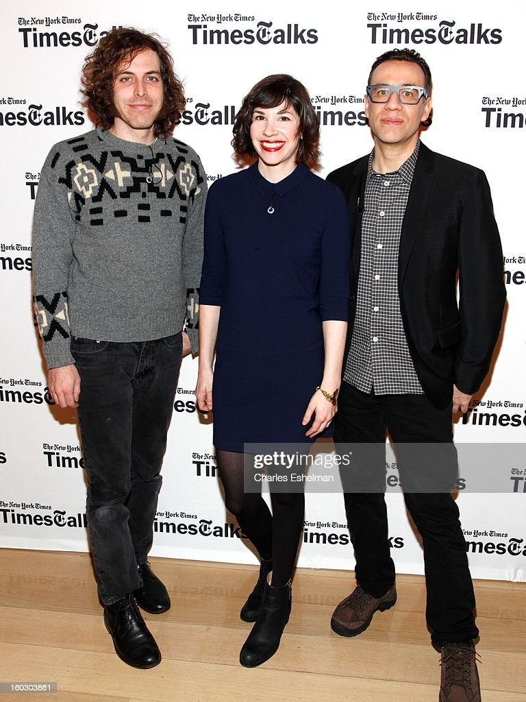 Director Jonathan Krisel, co-creators/co-writers <a gi-track='captionPersonalityLinkClicked' href=/galleries/search?phrase=Carrie+Brownstein&family=editorial&specificpeople=870017 ng-click='$event.stopPropagation()'>Carrie Brownstein</a> and <a gi-track='captionPersonalityLinkClicked' href=/galleries/search?phrase=Fred+Armisen&family=editorial&specificpeople=221426 ng-click='$event.stopPropagation()'>Fred Armisen</a> attend New York Times TimesTalks Presents: 'Portlandia' at TheTimesCenter on January 28, 2013 in New York City.