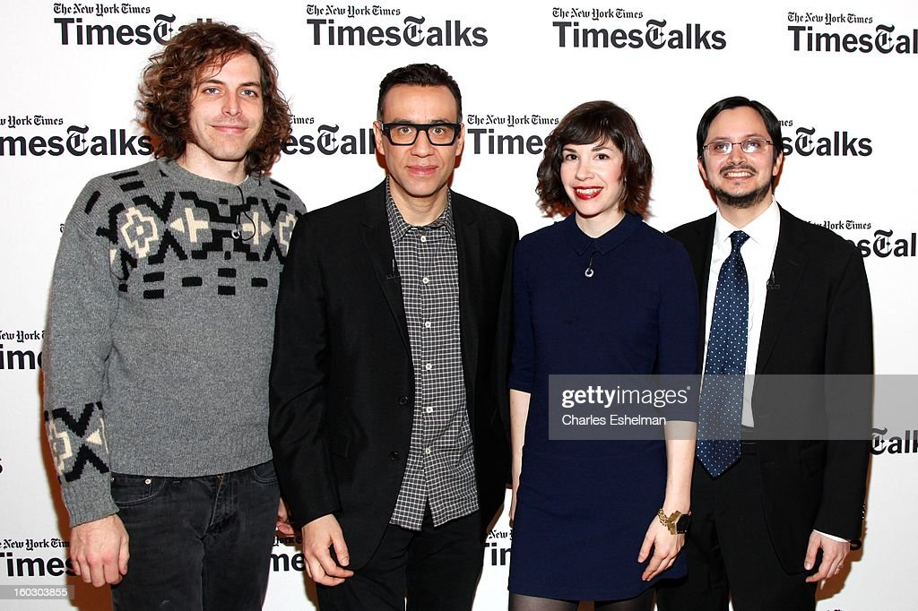 Director Jonathan Krisel, co-creators/co-writers <a gi-track='captionPersonalityLinkClicked' href=/galleries/search?phrase=Fred+Armisen&family=editorial&specificpeople=221426 ng-click='$event.stopPropagation()'>Fred Armisen</a>, <a gi-track='captionPersonalityLinkClicked' href=/galleries/search?phrase=Carrie+Brownstein&family=editorial&specificpeople=870017 ng-click='$event.stopPropagation()'>Carrie Brownstein</a> and NYT cultural reporter Dave Itzkoff attend New York Times TimesTalks Presents: 'Portlandia' at TheTimesCenter on January 28, 2013 in New York City.