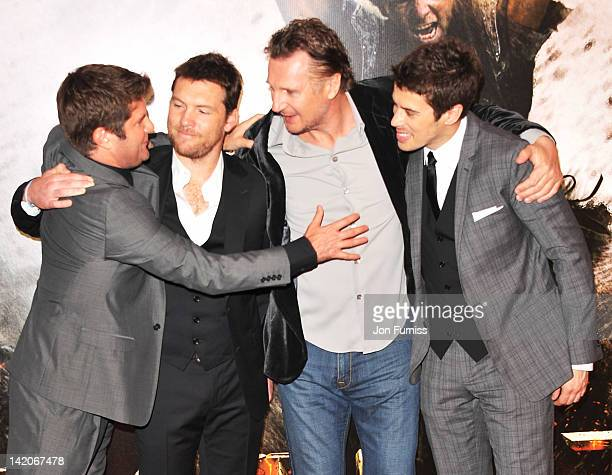 Director Jonathan Liebesman actors Sam Worthington Liam Neeson and Toby Kebbell attend the 'Wrath Of The Titans' European premiere at BFI IMAX on...