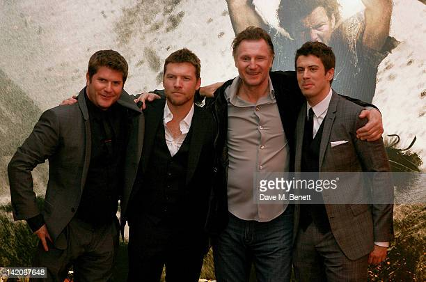 Director Jonathan Liebesman and actors Sam Worthington Liam Neeson and Toby Kebbell arrive at the European Premiere of 'Wrath Of The Titans' at BFI...