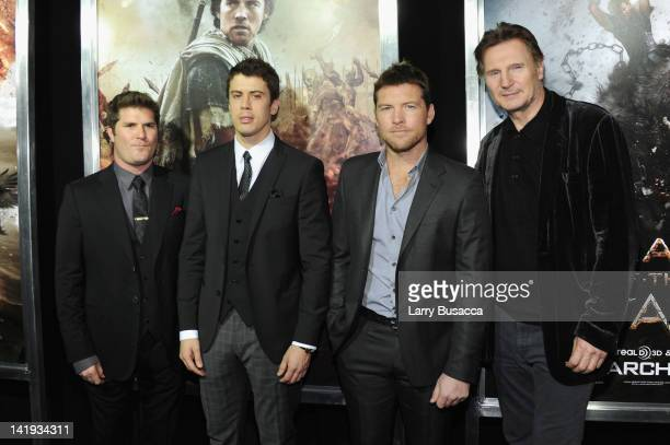 Director Jonathan Liebesman Toby Kebbell Sam Worthington and Liam Neeson attend the 'Wrath of the Titans' premiere at the AMC Lincoln Square Theater...