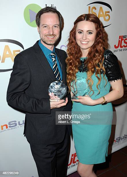 Director Jonathan Robbins and Jillian Clare attend 5th Annual Indie Series Awards held at El Portal Theatre on April 2 2014 in North Hollywood...