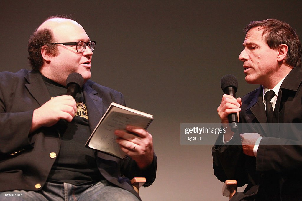 Director Jordan Hoffman and director <a gi-track='captionPersonalityLinkClicked' href=/galleries/search?phrase=David+O.+Russell&family=editorial&specificpeople=215306 ng-click='$event.stopPropagation()'>David O. Russell</a> (R) speak at Apple Store Soho on November 13, 2012 in New York City.