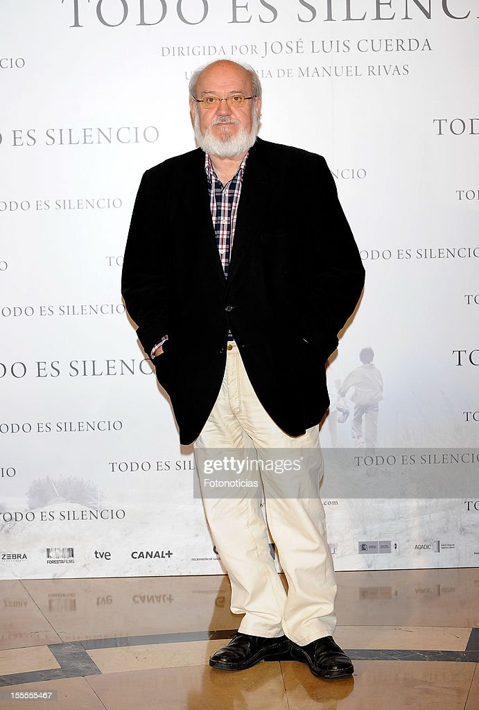 Director Jose Luis Cuerda attends a photocall for 'Todo Es Silencio' at the Palafox cinema on November 5, 2012 in Madrid, Spain.