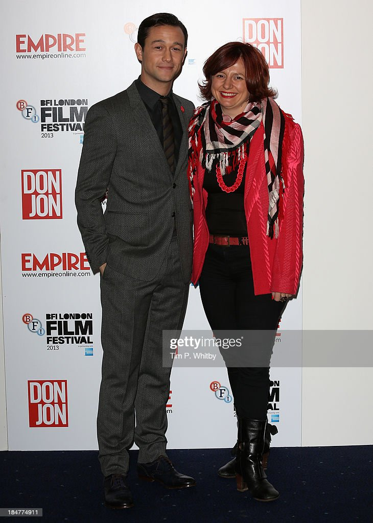 Director Joseph Gordon Levitt and BFI London Film Festival director Clare Stewart attend the 'Don Jon' screening during the 57th BFI London Film Festival at Odeon West End on October 16, 2013 in London, England.