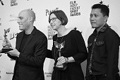 Director Joshua Oppenheimer and producer Signe Byrge Sorensen winners of the Best Documentary award for 'The Look of Silence' and Adi Rukin pose in...