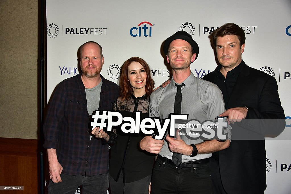 Director Joss Whedon actors Felicia Day Neil Patrick Harris and Nathan Fillion attend the PaleyFest New York 2015 'Dr Horrible's SingAlong Blog...