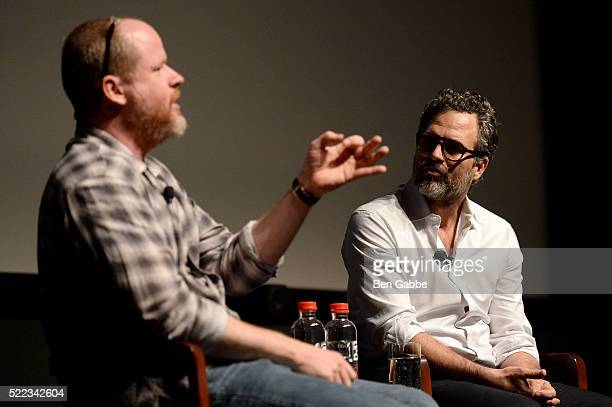 Director Joss Whedon and actor Mark Ruffalo speak onstage at the Tribeca Talks Directors Series Joss Whedon with Mark Ruffalo event during the 2016...