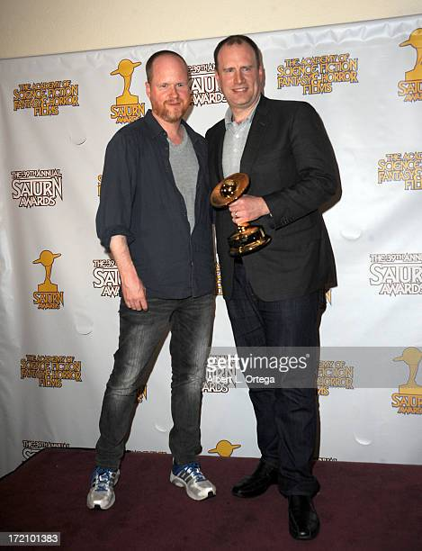 Director Joss Whedon and producer Kevin Feige pose at 39th Annual Saturn Awards inside the Press Room at The Castaway on June 26 2013 in Burbank...