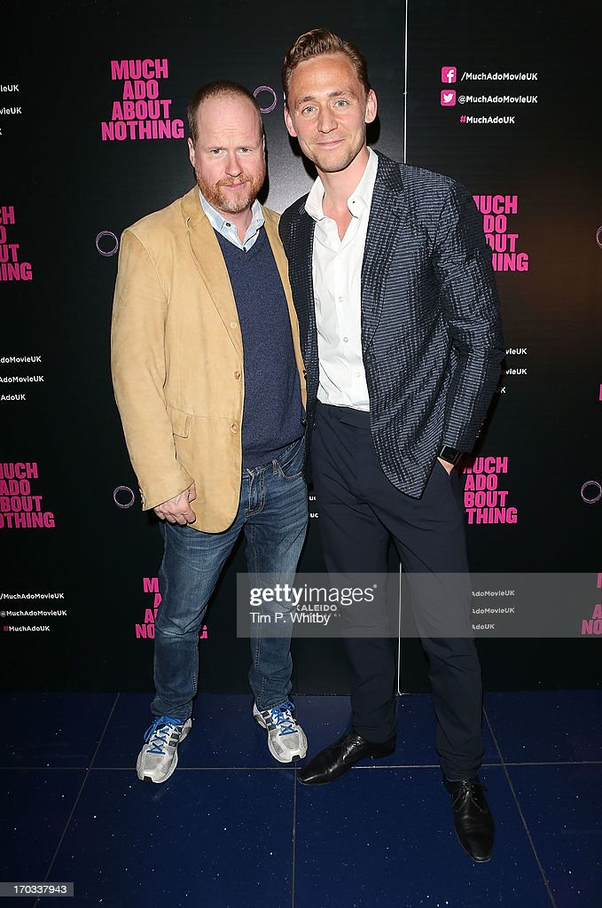 Director Joss Whedon and Tom Hiddleston attend the gala screening of 'Much Ado About Nothing' at Apollo Piccadilly Circus on June 11, 2013 in London, England.
