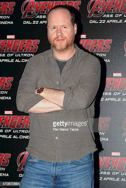 Director Joss Whedon attends a 'Avengers Age of Ultron' press conference on April 23 2015 in Milan Italy