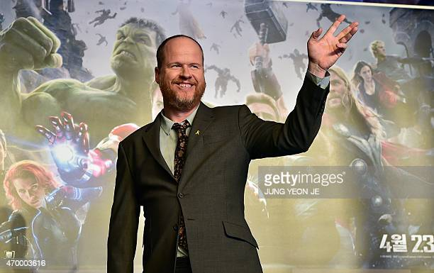 US director Joss Whedon poses for a photo session during a press conference to promote Marvel's 'Avengers Age Of Ultron' in Seoul on April 17 2015...