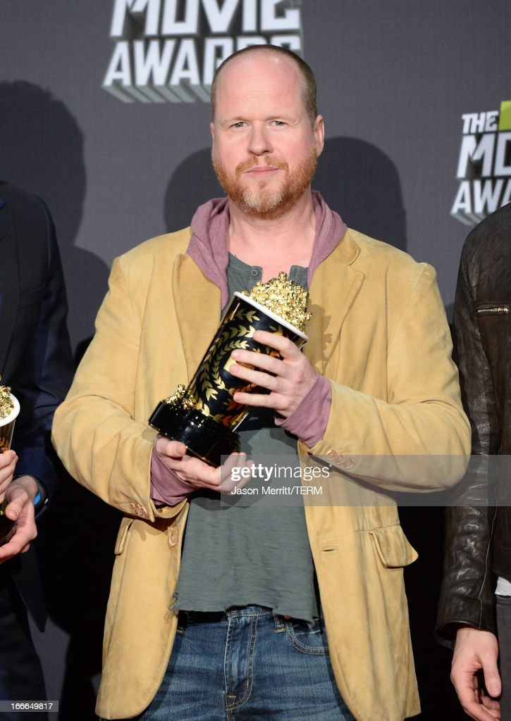 Director <a gi-track='captionPersonalityLinkClicked' href=/galleries/search?phrase=Joss+Whedon&family=editorial&specificpeople=2212235 ng-click='$event.stopPropagation()'>Joss Whedon</a>, winner of Movie of the Year for 'Marvel's The Avengers,' poses in the press room during the 2013 MTV Movie Awards at Sony Pictures Studios on April 14, 2013 in Culver City, California.