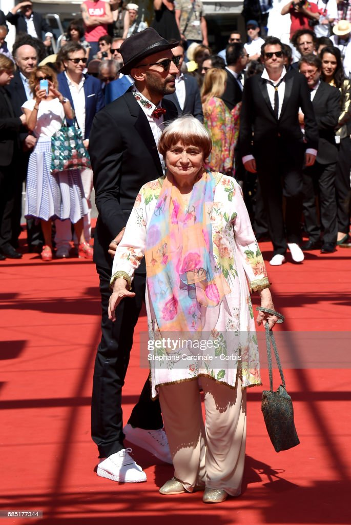 Director JR and Agnes Varda attend the 'Faces, Places (Visages, Villages)' screening during the 70th annual Cannes Film Festival at Palais des Festivals on May 19, 2017 in Cannes, France.