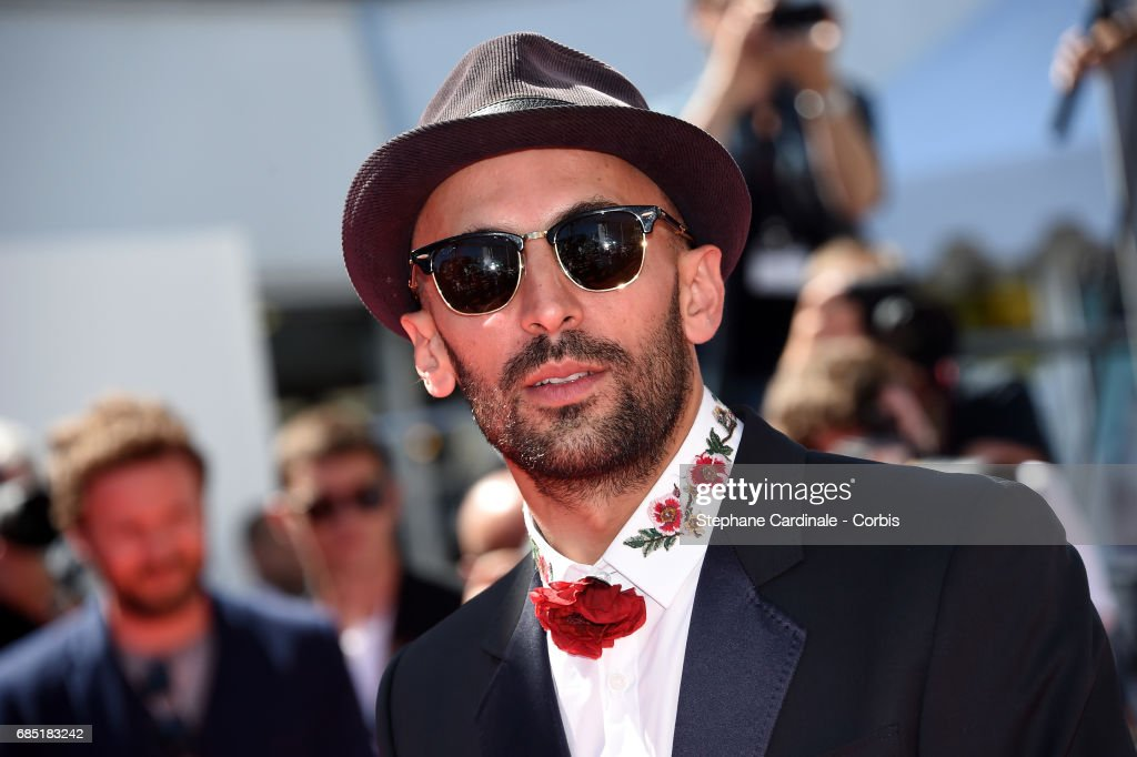 Director JR attends the 'Faces, Places (Visages, Villages)' premiere during the 70th annual Cannes Film Festival at Palais des Festivals on May 19, 2017 in Cannes, France.