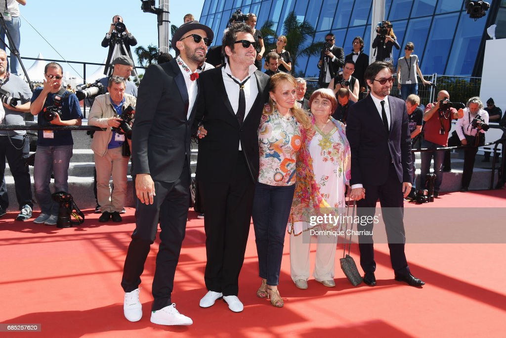 Director JR, composer Matthieu Chedid, director Agnes Varda and members of the cast attend the 'Faces, Places (Visages, Villages)' screening during the 70th annual Cannes Film Festival at Palais des Festivals on May 19, 2017 in Cannes, France.