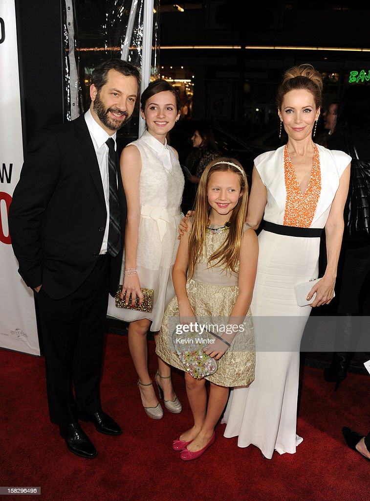 Director Judd Apatow, actress Maude Apatow, actress Iris Apatow and actress Leslie mann attend the premiere of Universal Pictures' 'This Is 40' at Grauman's Chinese Theatre on December 12, 2012 in Hollywood, California.